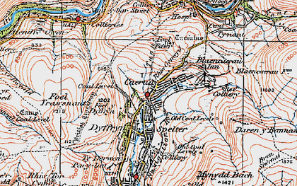 Old map of Caerau in 1923