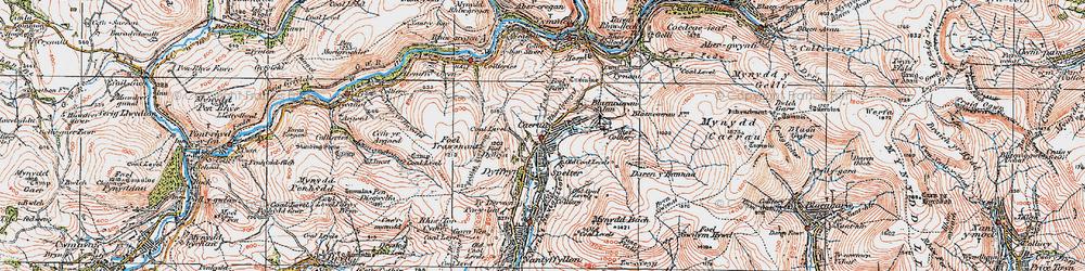 Old map of Caerau in 1923