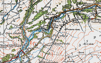 Old map of Caerbont in 1923