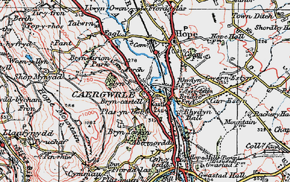 Old map of Caergwrle in 1924