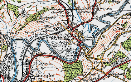 Old map of Caerleon in 1919