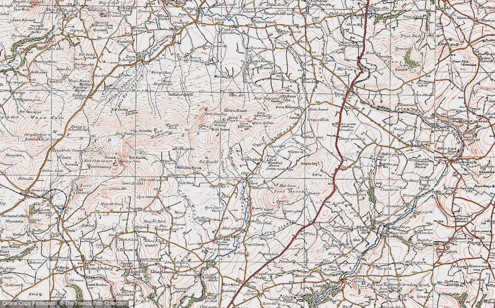 Old Map of Historic Map covering Afon Tewgyll in 1922