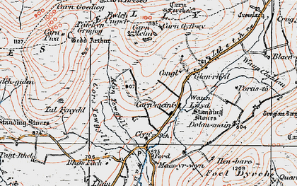 Old map of Afon Tewgyll in 1922