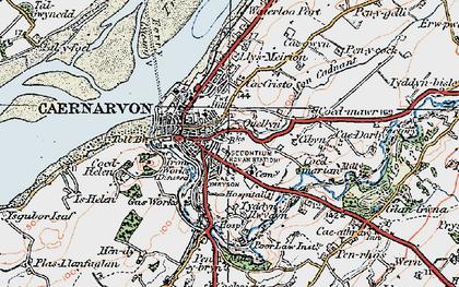 Old map of Caernarfon in 1922