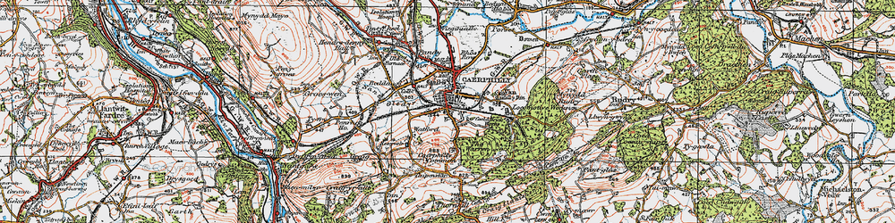 Old map of Caerphilly in 1919