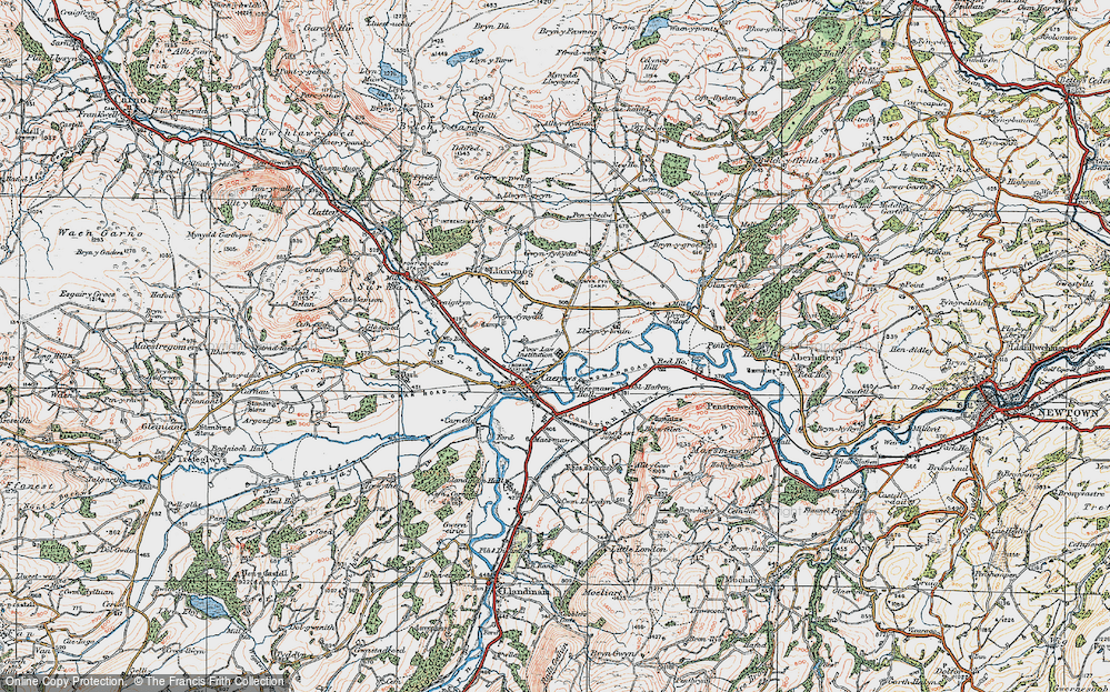 Old Map of Caersws, 1921 in 1921