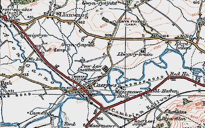 Old map of Caersws in 1921