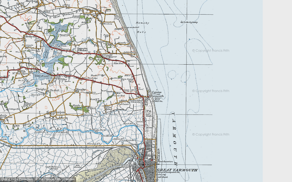 Old Map of Caister-on-Sea, 1922 in 1922