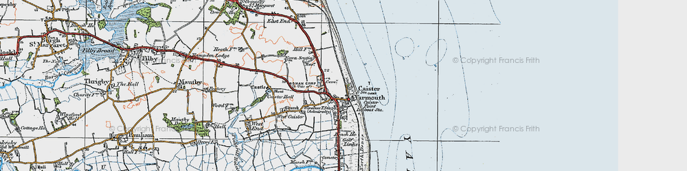 Old map of Caister-on-Sea in 1922