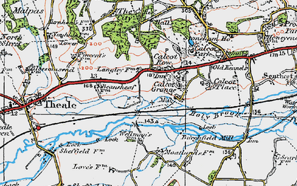 Old map of Calcot in 1919