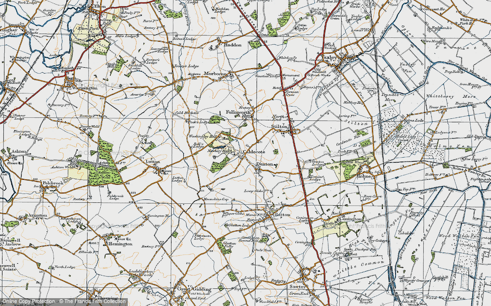 Old Map of Caldecote, 1920 in 1920