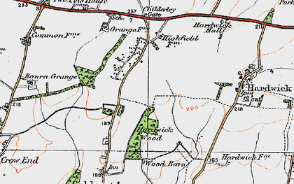 Old map of Caldecote in 1920