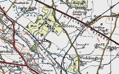Old map of Lindley Grange in 1921