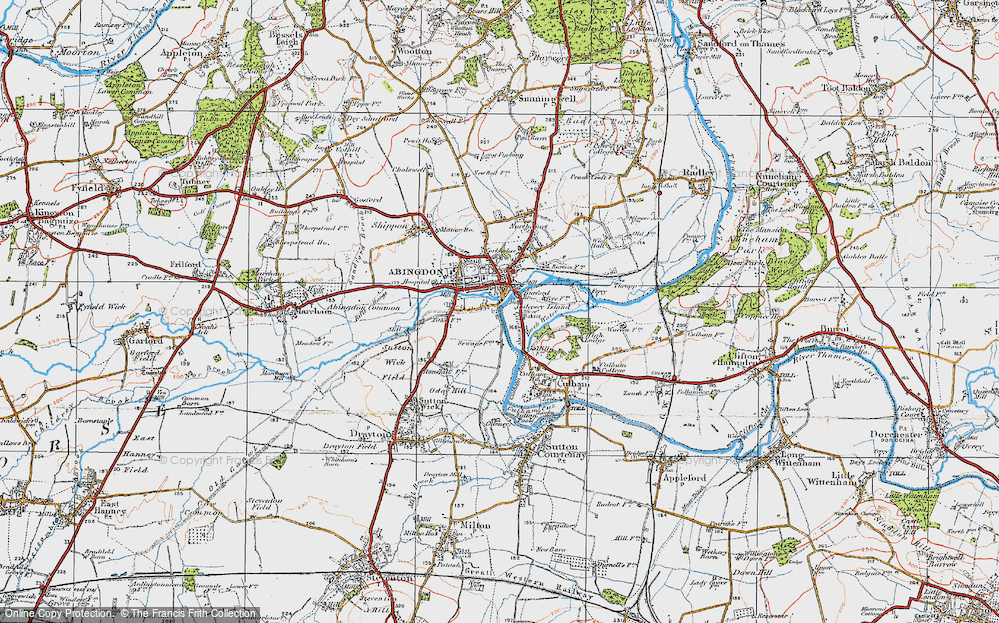 Old Map of Historic Map covering Abingdon Br in 1919