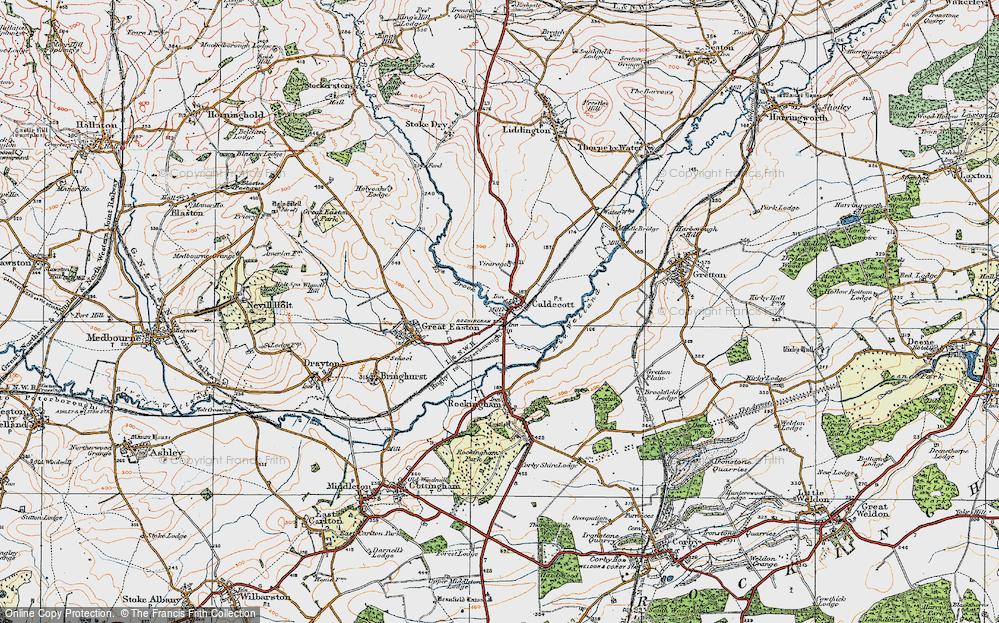 Old Map of Caldecott, 1920 in 1920