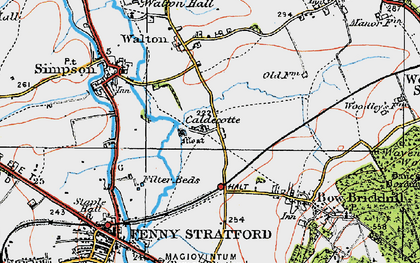 Old map of Caldecotte in 1919