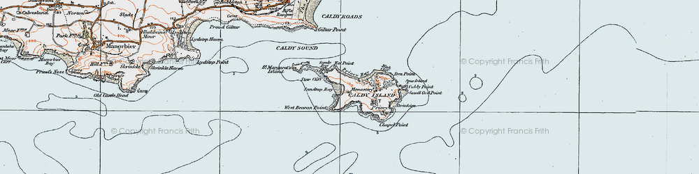 Old map of Caldey Island in 1922