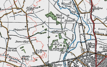 Old map of Callands in 1923