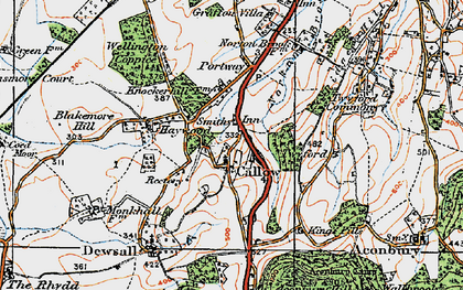 Old map of Aconbury in 1920