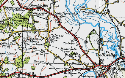 Old map of Calmore in 1919