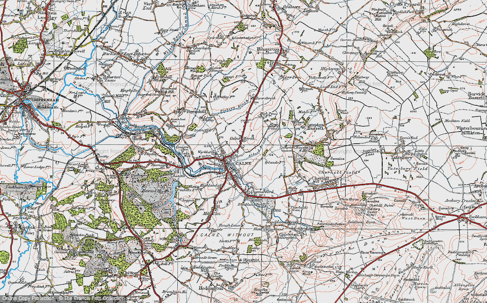 Old Map of Historic Map covering Abberd Brook in 1919