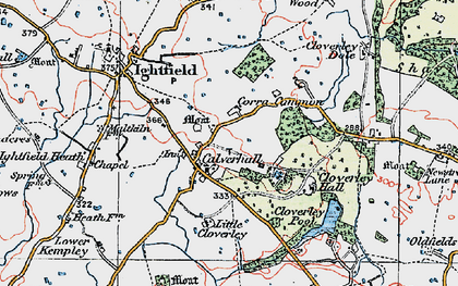 Old map of Calverhall in 1921