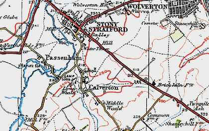 Old map of Calverton in 1919