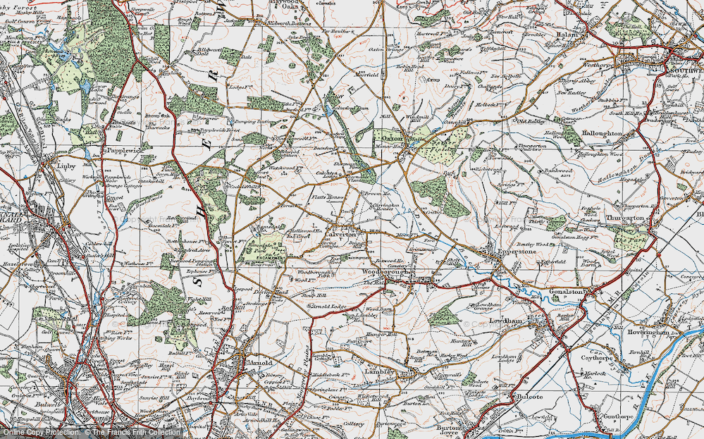 Old Map of Historic Map covering Abbey House in 1921