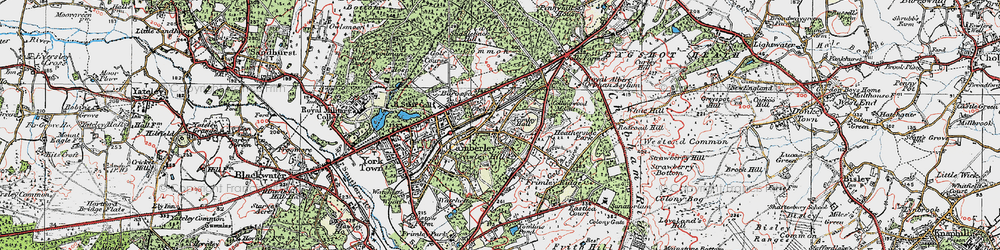 Old map of Camberley in 1919