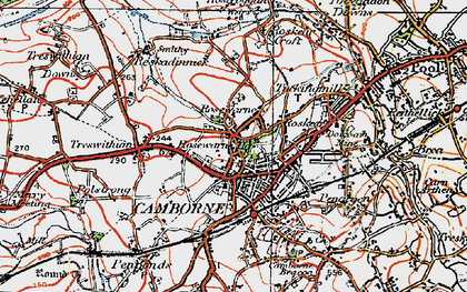 Old map of Camborne in 1919