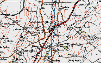 Old map of Camelford in 1919