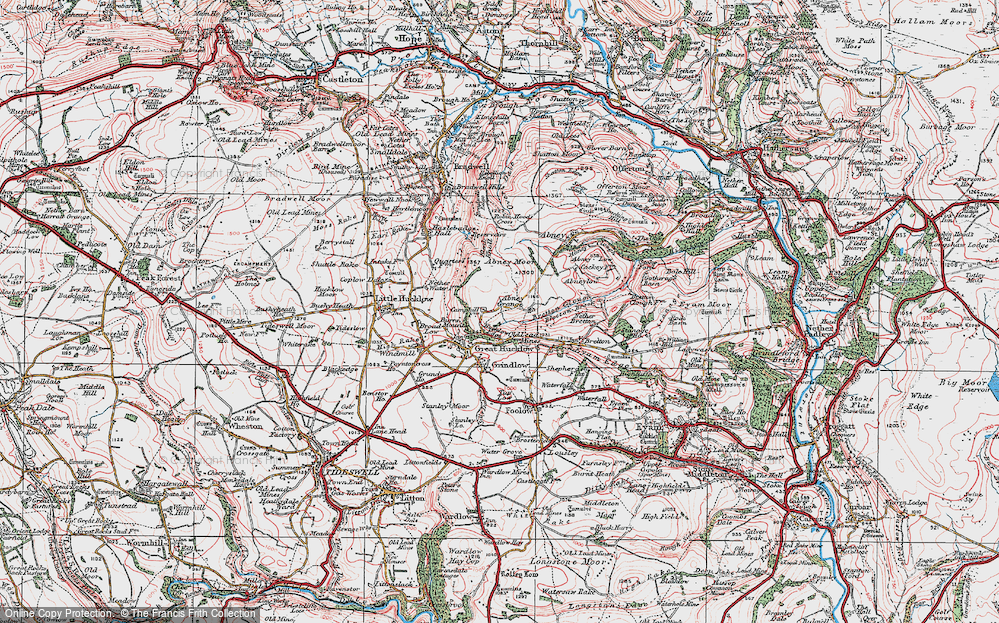 Old Map of Historic Map covering Abney Moor in 1923