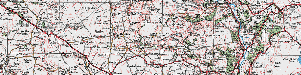 Old map of Abney Moor in 1923