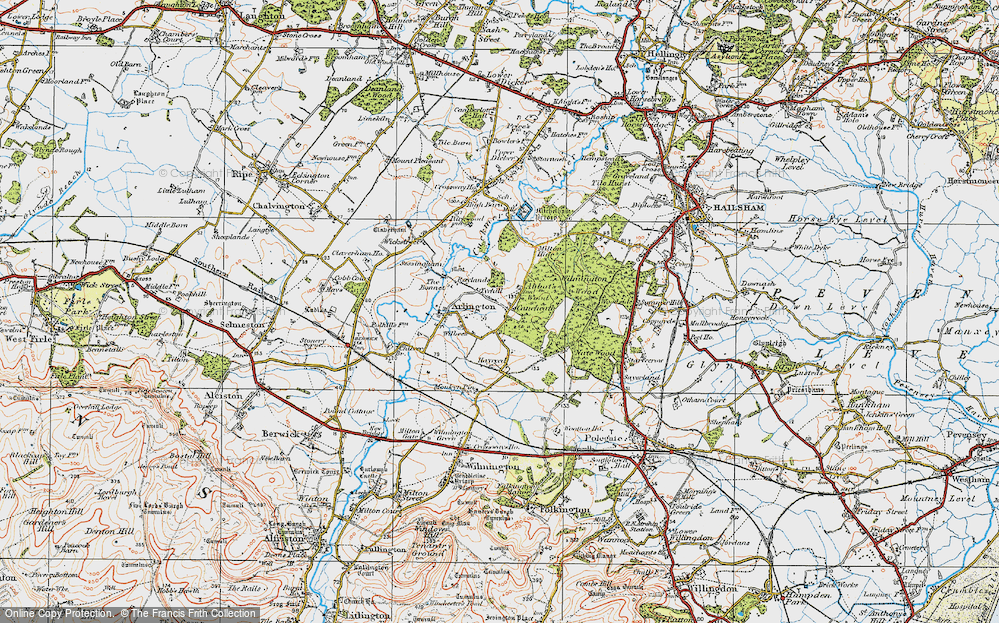 Old Map of Historic Map covering Abbot's Wood in 1920
