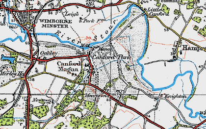 Old map of Canford Magna in 1919