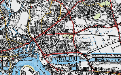 Old map of Canning Town in 1920