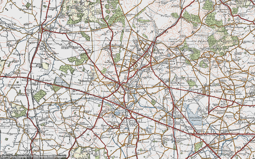 Old Map of Cannock, 1921 in 1921