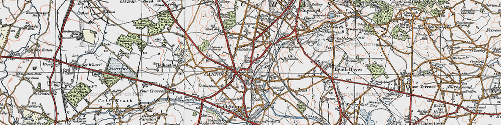 Old map of Cannock in 1921