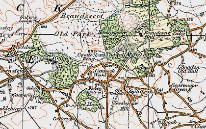 Old map of Cannock Wood in 1921