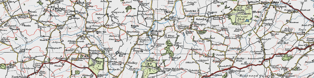 Old map of Witney Green in 1919