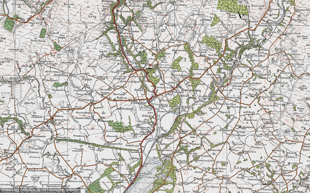 Old Map of Historic Map covering Tinnishall in 1925