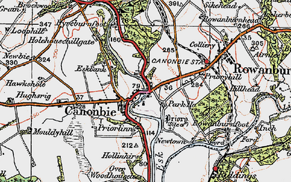 Old map of Canonbie in 1925