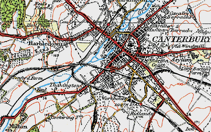 Old map of Canterbury in 1920