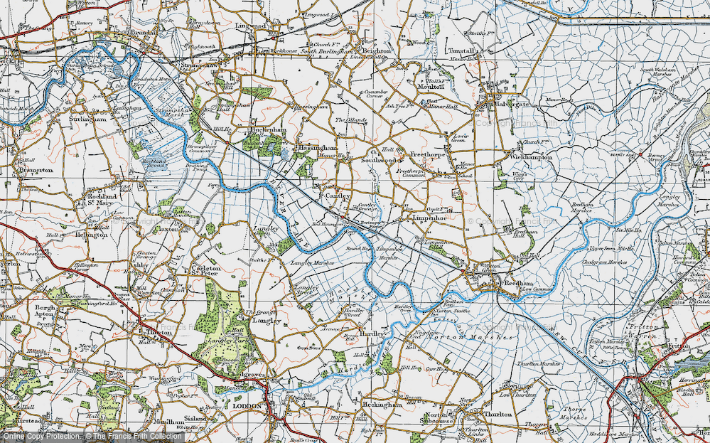 Old Map of Historic Map covering Langley Marshes in 1922
