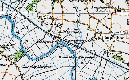 Old map of Cantley in 1922
