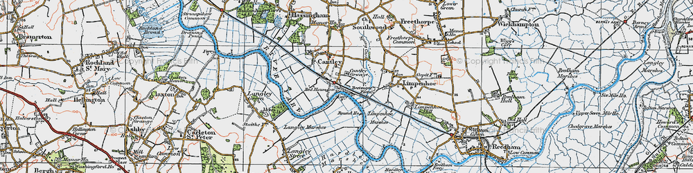Old map of Langley Marshes in 1922