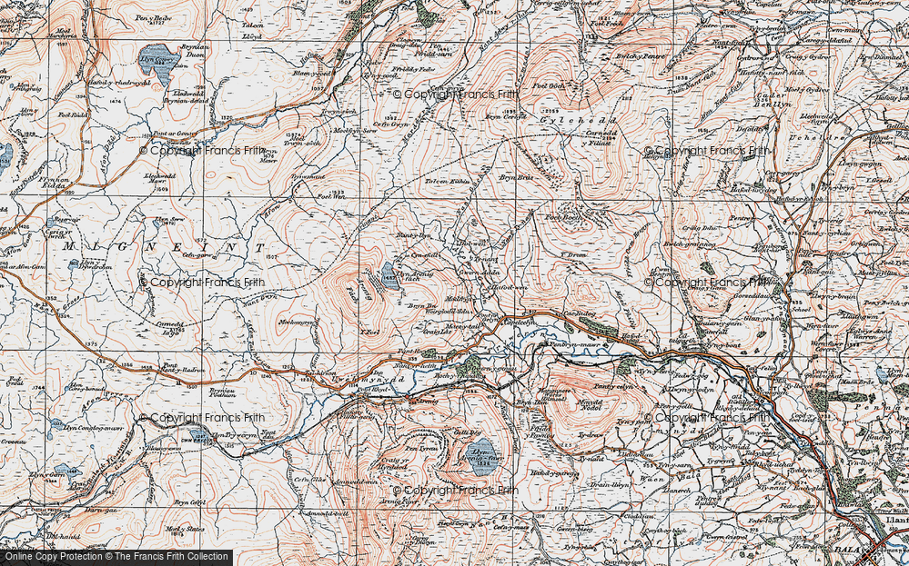 Old Map of Historic Map covering Afon Gelyn in 1922