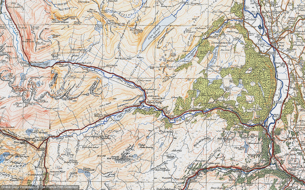 Old Map of Historic Map covering Afon y Bedol in 1922