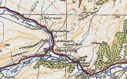 Old map of Capel Curig in 1922