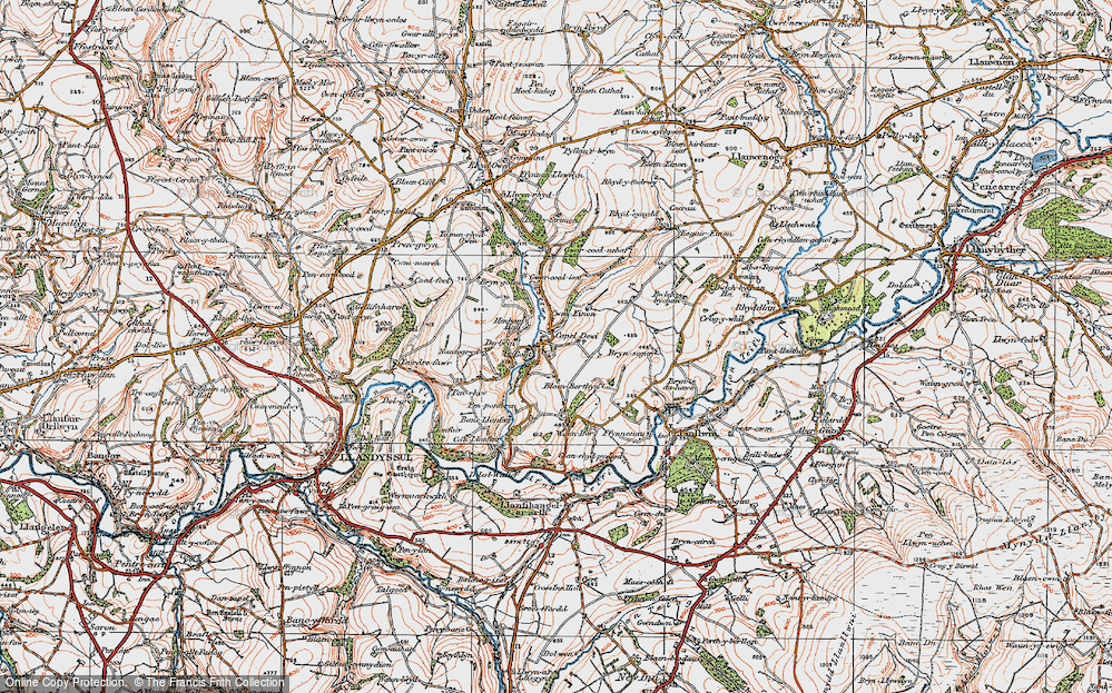 Old Map of Historic Map covering Afon Clettwr in 1923